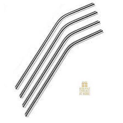 RSVP Bent Drinking Straws Stainless Steel Set/4
