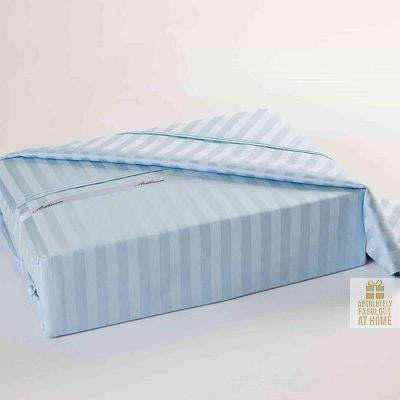 King Sheet Set 100% Egyptian Cotton 450tc Ice Blue Stripe www.absolutelyfab.ca