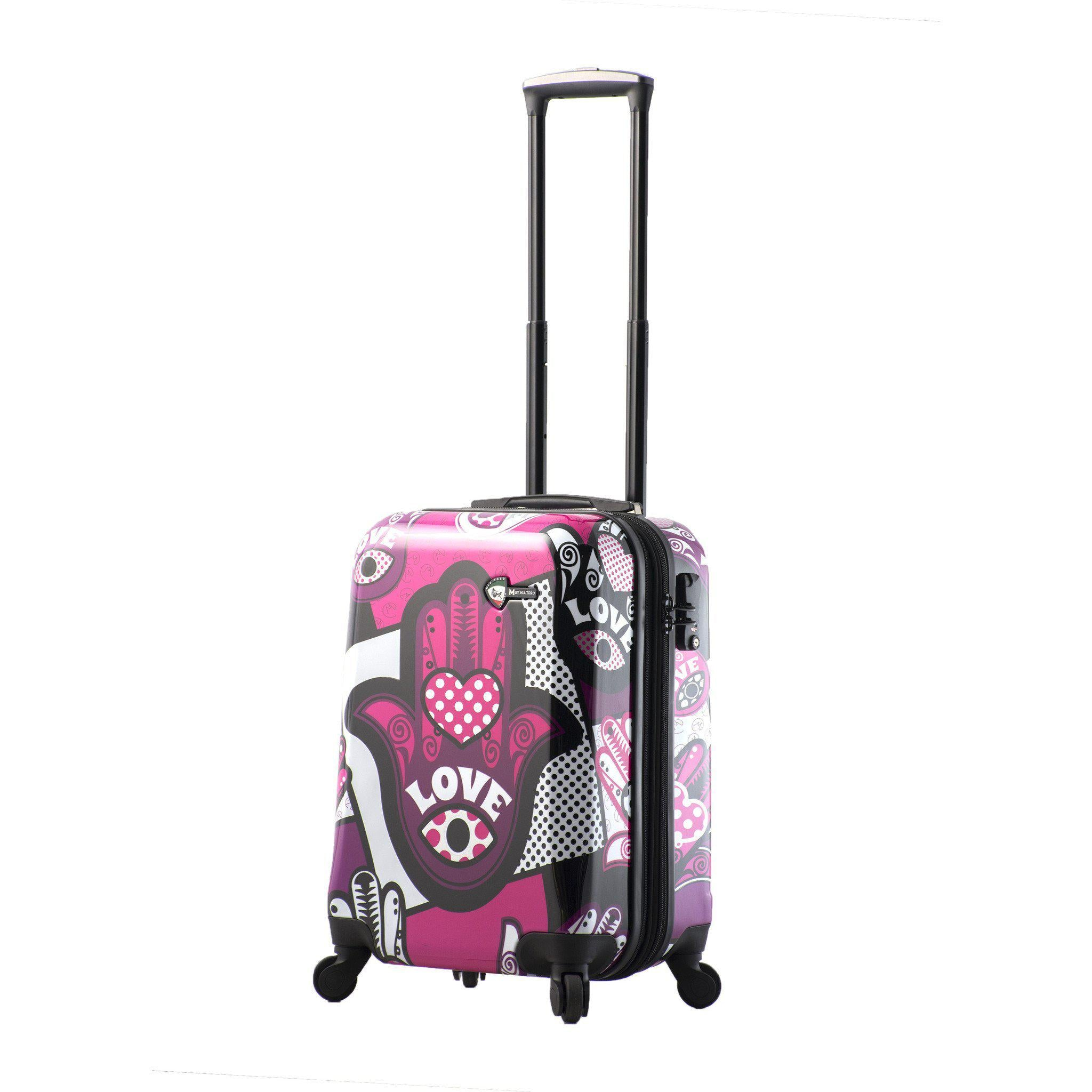 "Limited Edition M By Mia Toro ""Hamsa Love Hardside Spinner Carry-on"
