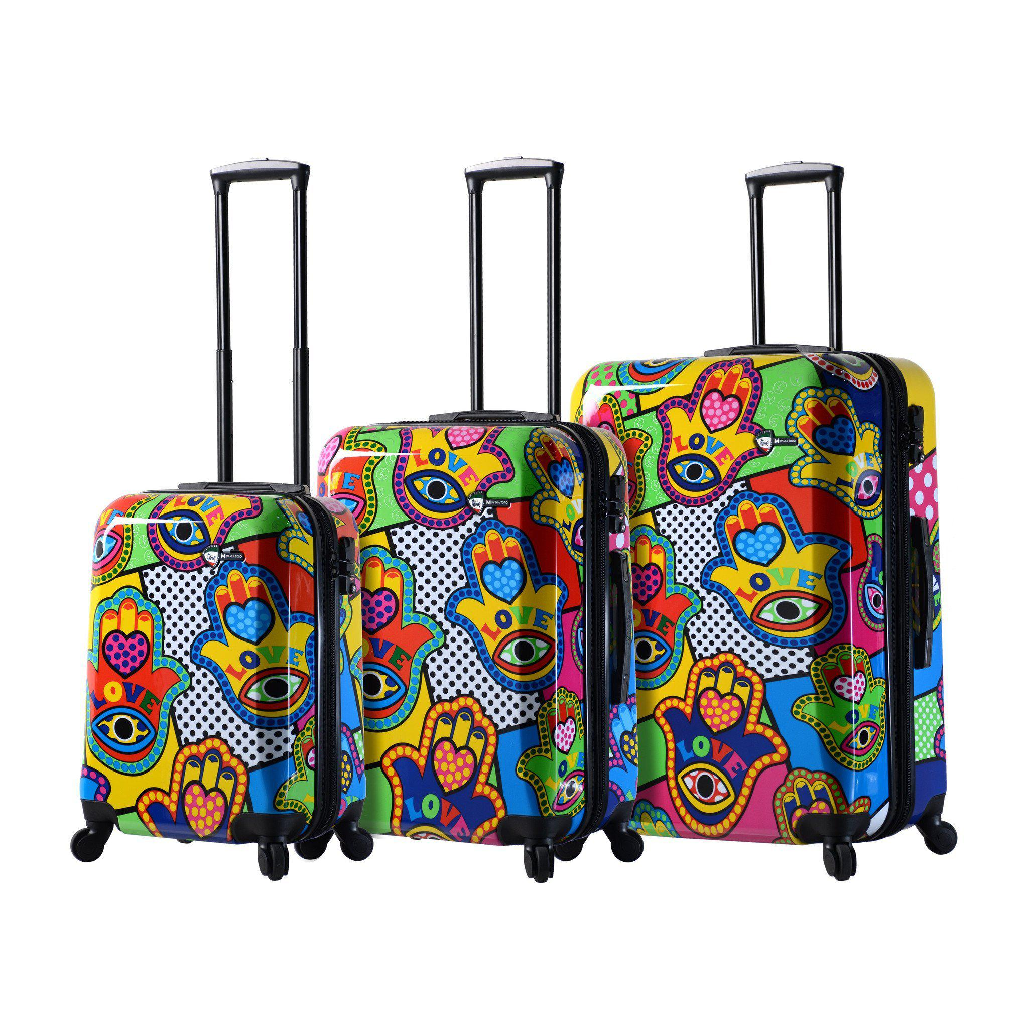 "M Collection ""Hamsa Love Multicolor"" Hardside Spinner 3PC Set"
