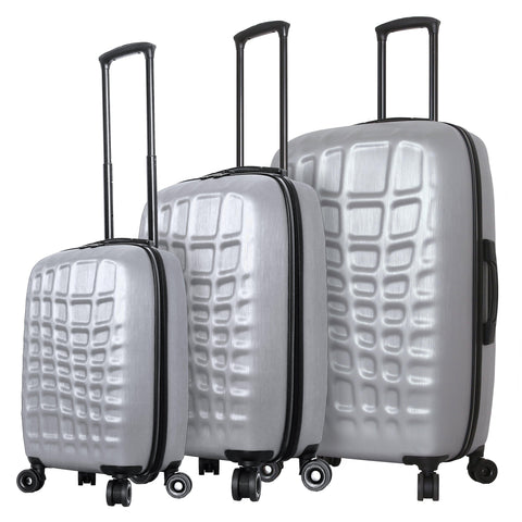 Mia Toro ITALY Abstract Croco Hardside Spinner Luggage 3PC Set