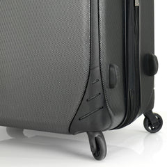 Mia Toro ITALY Aquila Hardside Spinner Luggage 3 Piece set in black color - wheel