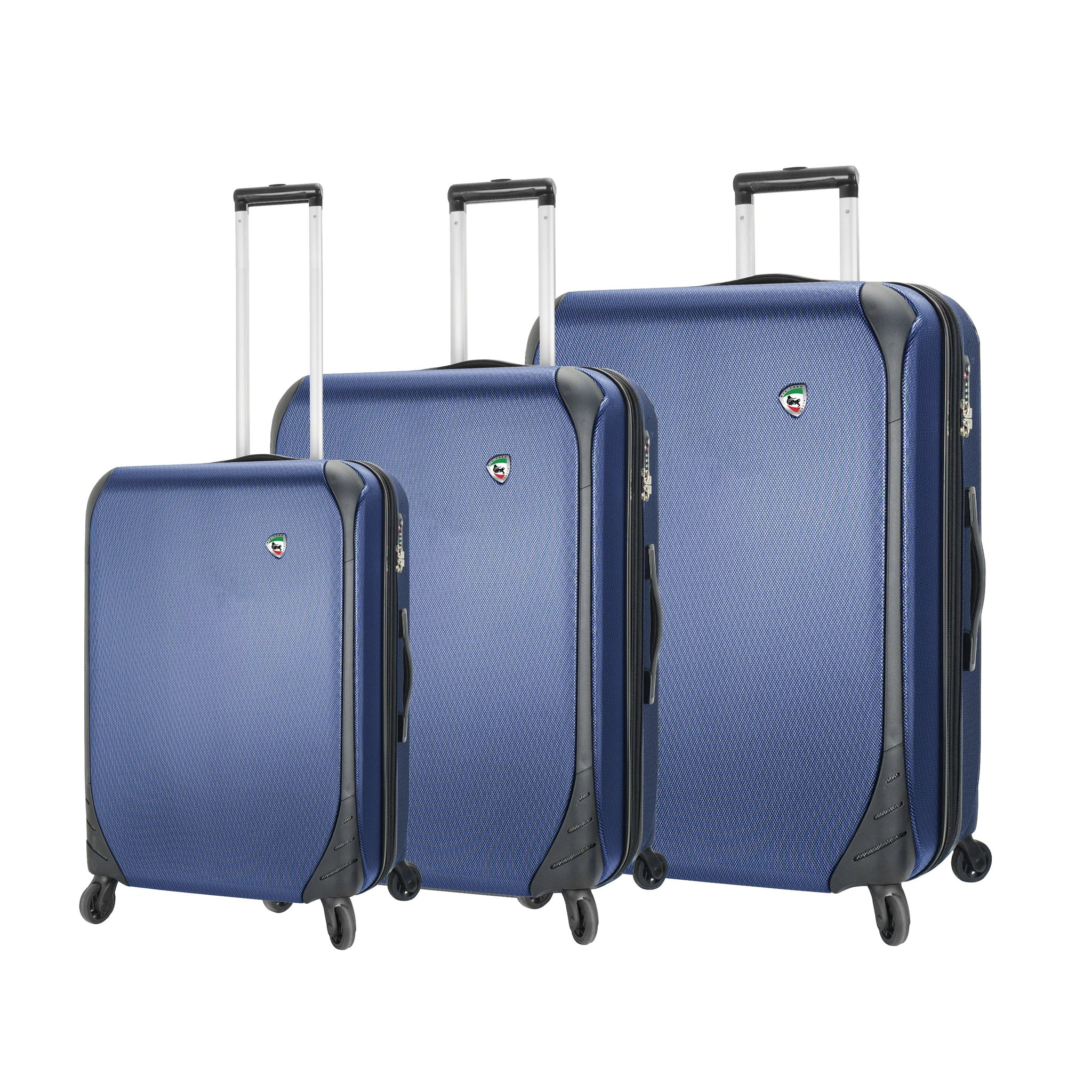 Mia Toro ITALY Aquila Hardside Spinner Luggage 3 Piece set in blue color