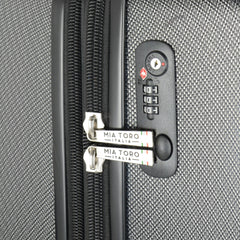 Mia Toro ITALY Aquila Hardside Spinner Luggage 3 Piece set in black color - tsa lock