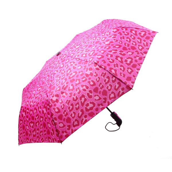 Mia Toro Painted Leopard Auto Open/Auto Close Umbrella