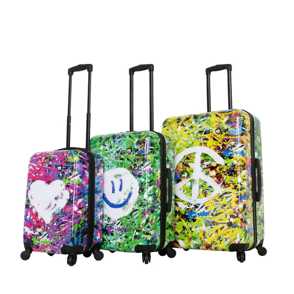 Prado-Peace Love Happiness Spinner Luggage Set (3 Pieces)