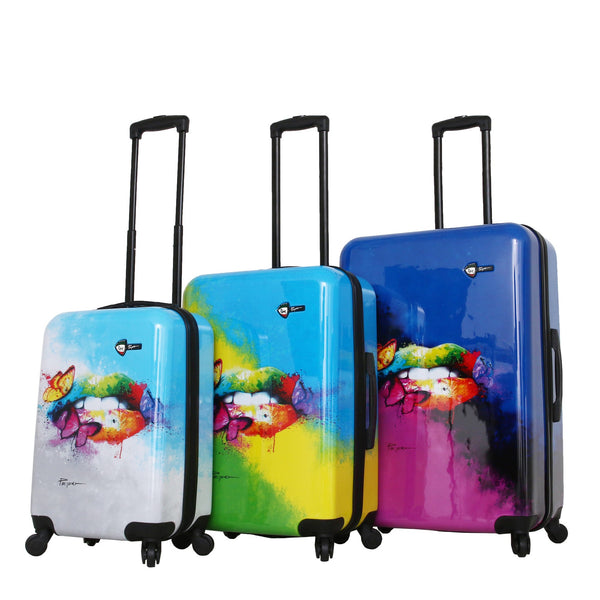Prado-Pop Lips Spinner Luggage 3PC Set