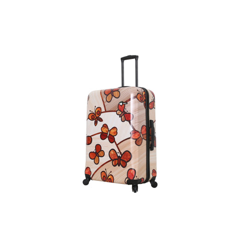 "Ricci Wood Mozaic Butterflies 28"" Luggage"