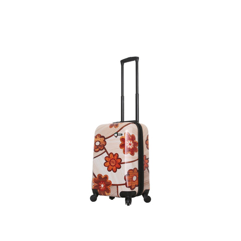 "Ricci Wood Mozaic Flowers 20"" Carry-On Luggage"