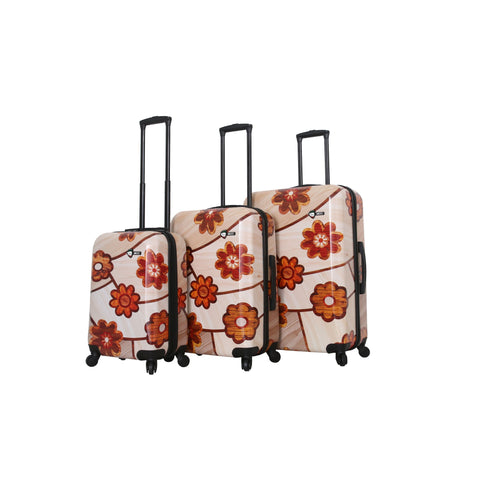 Ricci Wood Mozaic Flowers Luggage Set (3 Pieces)-Mia Toro