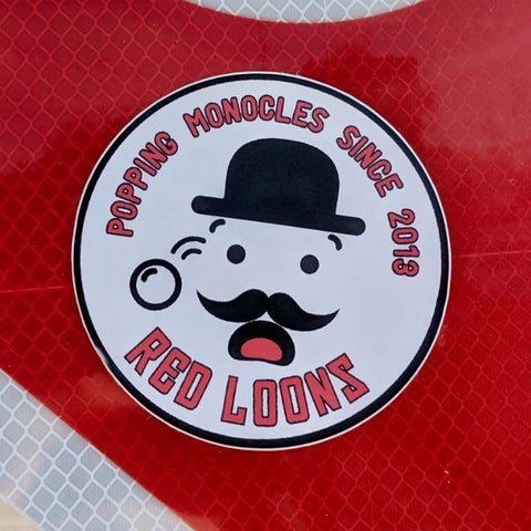 "Red Loons - ""Popping Monocles"" Sticker"
