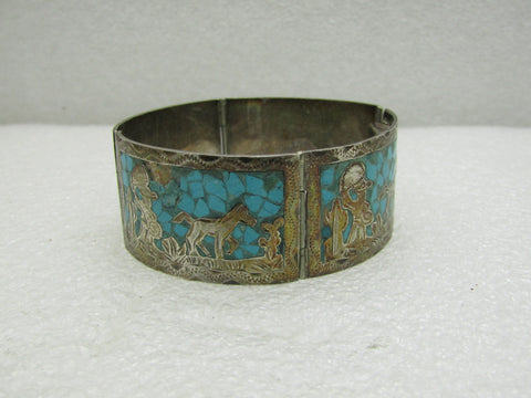 "Vintage Turquoise Inlaid Story Teller Bracelet, Mexico, 7"", 1-1/8"" Wide"