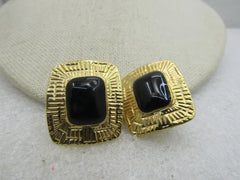 "Vintage Goldtone Black Rectangular Clip Earrings, 1980's. 1-1/8"", Egyptian-ish"