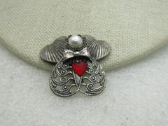 Vintage Angel Brooch Signed Jane with Faux Pearl Red Heart