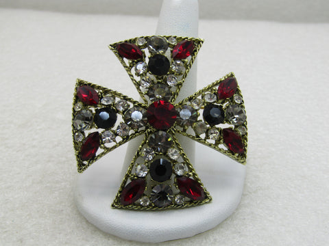 Vintage Rhinestone Maltese Cross/Pendant, Red, Clear, 2""