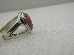 Carolyn Pollack Relios Sterling Silver Carved Rhodonite Ring, Sz. 11