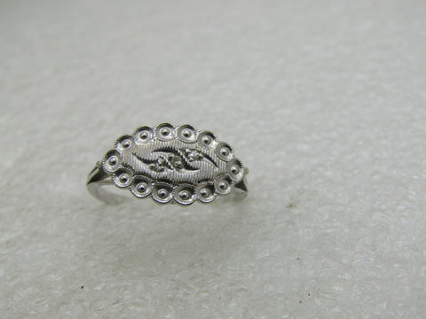Vintage 14kt White Gold Art Deco Ring, Sz. 7, Signed WH, 2.45 Gr.