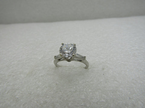 14kt CZ Engagement Ring, with Baguettes, Diamonique, 2.5+ TCW, Sz. 8, 3.42 Gr.