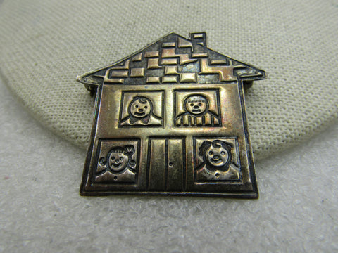 "Vintage Sterling Silver House Family Brooch, Mexico, Coronavirus Stay Home Theme 1.5"", 8.36 gr."