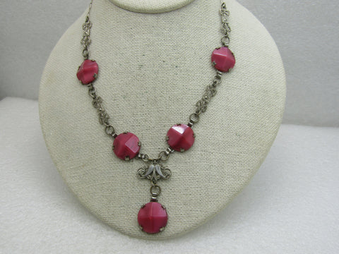Vintage 1920's Pink Cateye Art Deco Necklace,  With Drop, Filigree Links, 16""