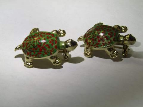 Vintage Pair of Enameled Turtle Brooches, Scatter Pins, Gold Tone