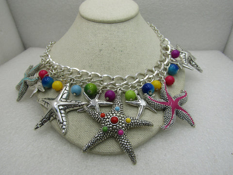 "Star Fish & Beaded Statement Bib Necklace, 20.5"", Enameled"