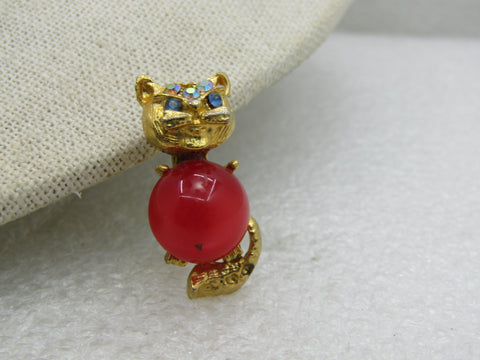 Vintage Red/Orange Moonglow Cat Brooch,  AB Rhinestones