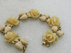 "Vintage Molded Rose & Leaf Linked Bracelet, 7"", 16mm wide, 1950's"