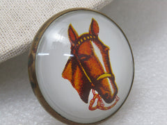 "Vintage Horse with Bit Bridal Rosette Button, 1.75"", Round"