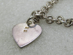 "Vintage Sterling Silver Single Heart Charm Bracelet, 7"", 18.81 gr."