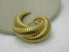Vintage Curved Scarf Clip, Gold Tone, 1980's.  2.25""