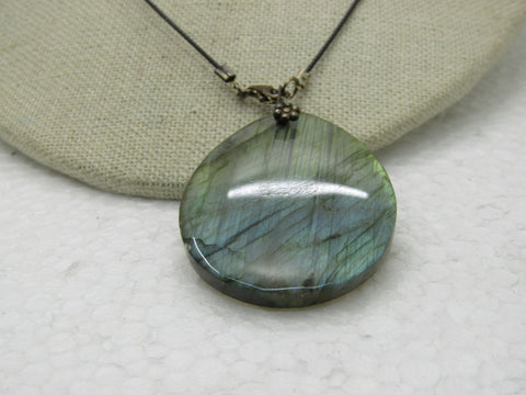 "Sterling Labradorite Pear-Shaped Pendant Necklace, 18"" Black Filament Collar"