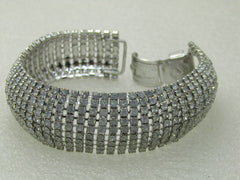 "Vintage Joan Rivers Wide Clear Rhinestone Bracelet, 7.5"", 1"""