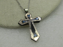 "Vintage Sterling Silver Inlaid Cross Necklace, 17.5"", Mexico"