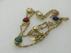 "Vintage Scarab Necklace Signed LR, Lady Remington, 28"", Gold Tone"