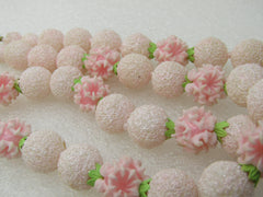 Vintage Japan Pink Floral Beaded Necklace, Mid-Century, Double Strand, 19""