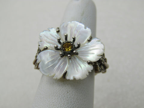 Vintage Sterling Floral MOP Ring, Citrine and  Marcasite Butterfly, Signed CNA, Sz. 6.25, 6.20 gr.