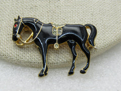 Vintage Black Cloisonne  Horse Brooch, Rhinestone Eyes/Saddle