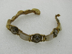 "Vintage Damascene Mother-of-Pearl Bracelet, 7"", 6.5-11mm wide"