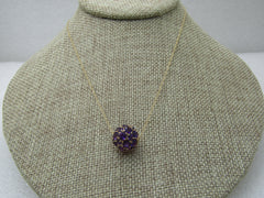 "Vintage 14kt Amethyst Pave Set Orb Necklace, 18"", Signed OWG"