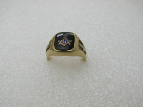 Vintage 14kt Onyx Masonic Ring, Sz. 8, 7.05 Gr. Two-Tone Gold