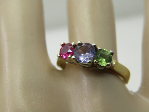 Vintage 14kt Sapphire, Ruby, Tourmaline Ring, Sz. 7.5