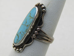 Sterling Silver Southwestern Faux Turquoise Ring, Sz. 6,