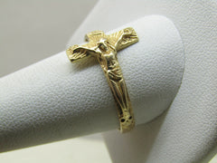 Vintage 14kt Crucifix Ring, Men's, Sz. 12.5. Yellow gold