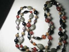 "Jay King Necklace, Retired Mine Finds 60"" Beaded Black/Amber/Agate and More"