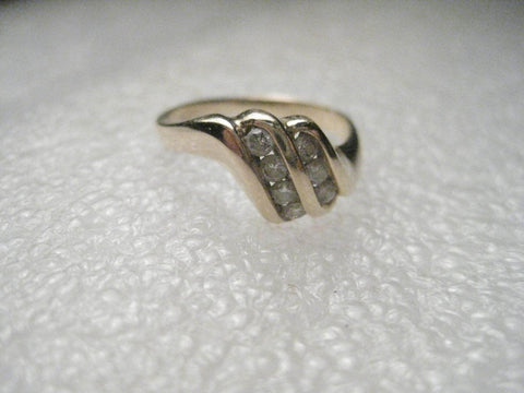 Vintage 14kt Gold Diamond Ring, Sz. 5, Double Row, Tiered/Ridged, Offset, SGS