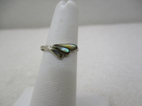 Vintage Sterling Abalone Mexico Ring, Sz. 5.5, TS-70 Signed (SS)