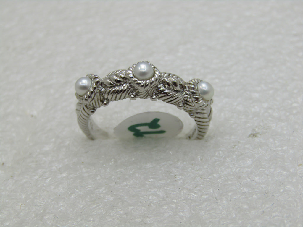 Vintage Judith Ripka Sterling Silver Pearl Ring, Sz. 10.5