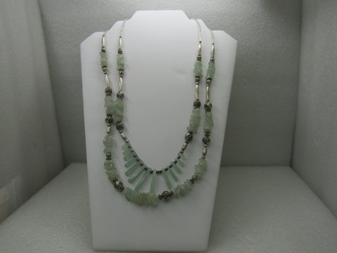 Vintage Southwestern Jade Necklace, Double Strand with Drops & Rose Beads, 24""