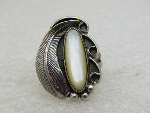 Vintage Sterling Southwestern Mother-of-Pearl Ring, Sz. 8